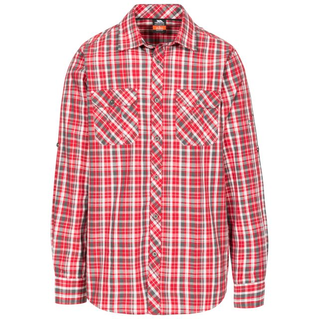Collector Men's Checked Shirt in Red, Front view on mannequin