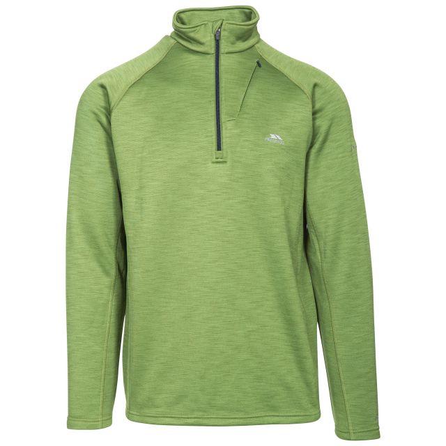 Collins Men's 1/2 Zip Fleece in Green, Front view on mannequin