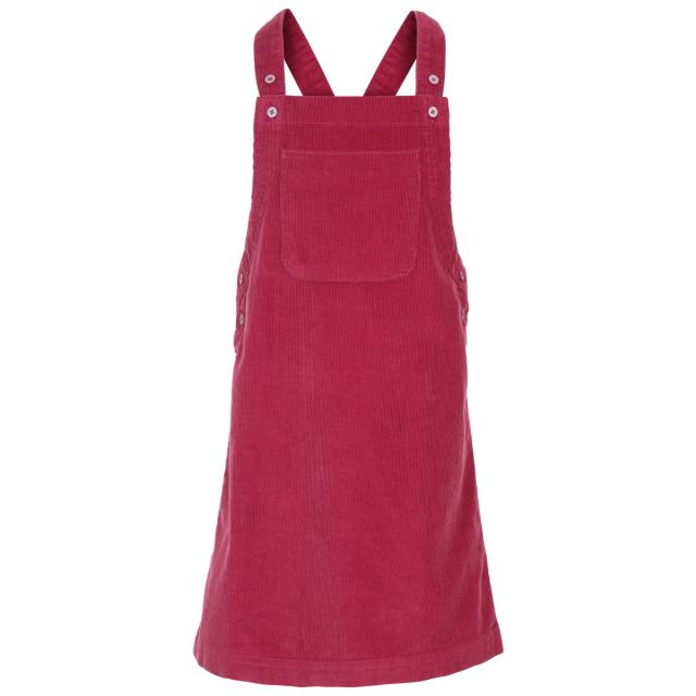 Trespass Kids Sleeveless Dress Pinafore Corduroy Convince in Berry, Front view on mannequin