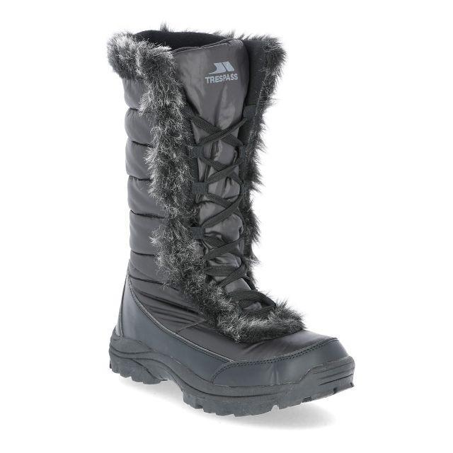 Coretta Women's Fleece Lined Waterproof Snow Boots in Black, Angled view of footwear