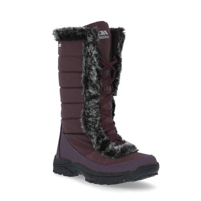 Coretta Women's Fleece Lined Waterproof Snow Boots in Purple, Angled view of footwear