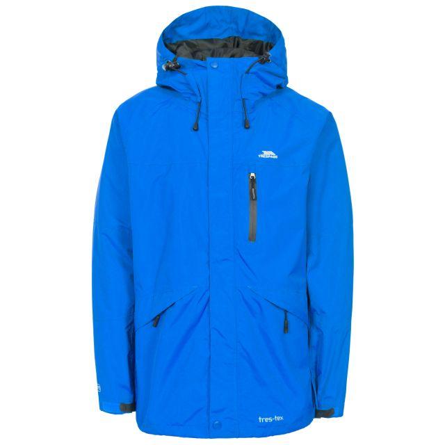Corvo Men's Waterproof Windproof Jacket in Blue, Front view on mannequin