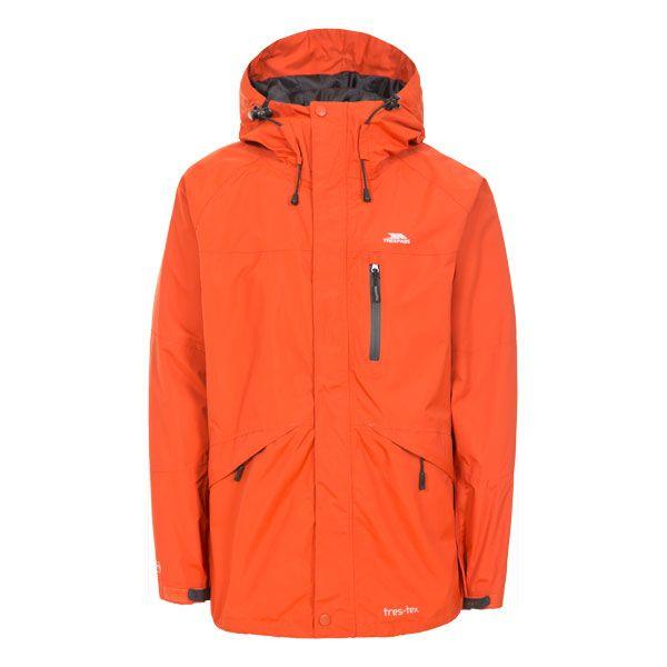 Corvo Men's Waterproof Windproof Jacket in Orange, Front view on mannequin