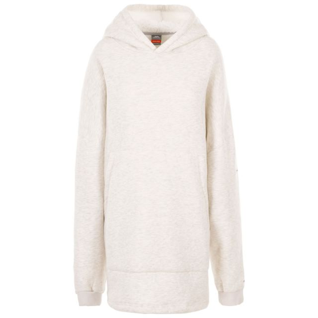 Adults Cosy Wearable Blanket Oversized Fleece Hoodie in Grey, Front view on mannequin