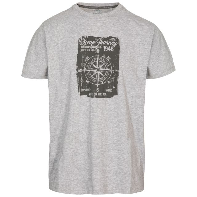 Course Men's Printed Casual T-Shirt in Light Grey, Front view on mannequin