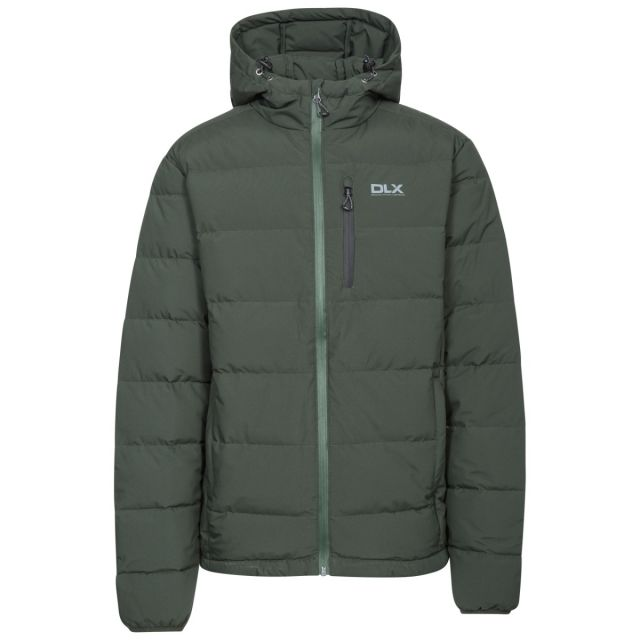 Crane Men's DLX Hooded Down Jacket in Khaki, Front view on mannequin