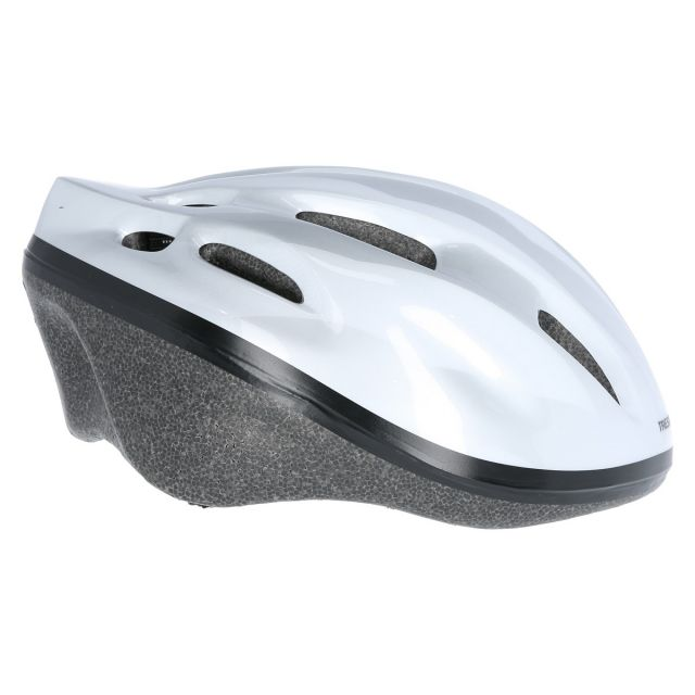 Cranky Kids' Bike Helmet in White, Fastening detail of helmet