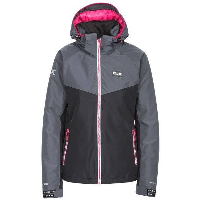 DLX Womens Ski Jacket Windproof Insulated Crista Black, Front view on mannequin