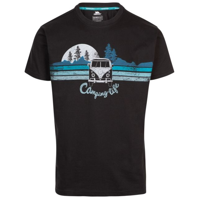 Trespass Men's Casual Short Sleeve Graphic Camping Life T-Shirt Cromer Black, Front view on mannequin