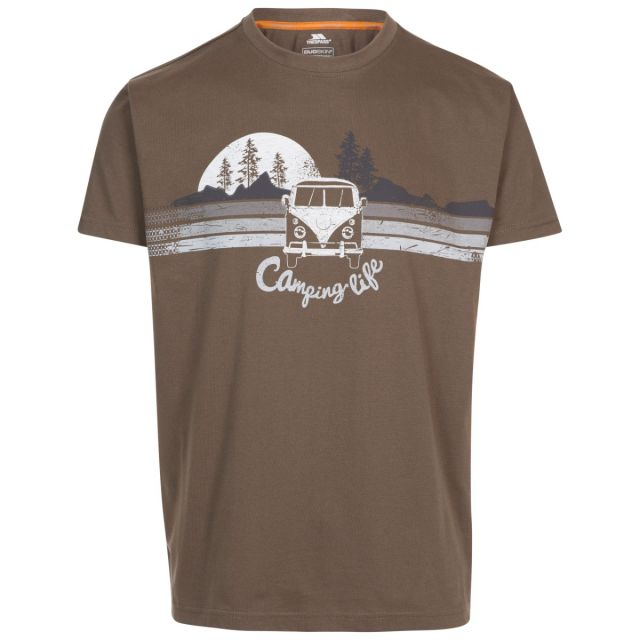 Trespass Men's Casual Short Sleeve Graphic Camping Life T-Shirt Cromer Khaki, Front view on mannequin