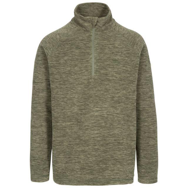 Crucial Men's 1/2 Zip Fleece in Green, Front view on mannequin