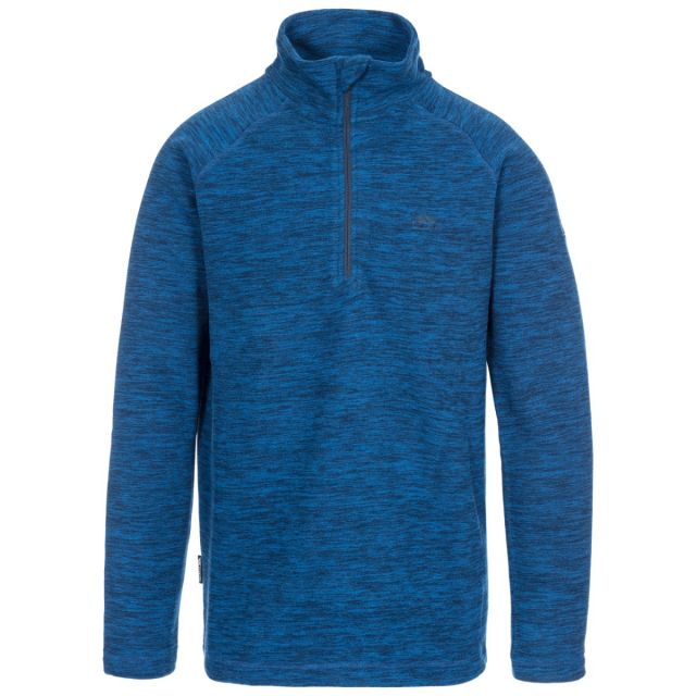 Crucial Men's 1/2 Zip Fleece in Blue, Front view on mannequin