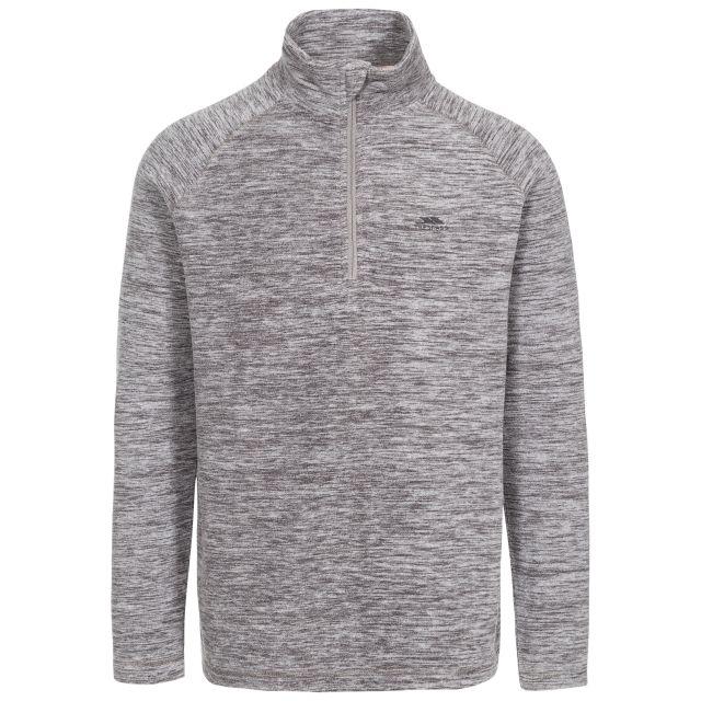 Crucial Men's 1/2 Zip Fleece in Light Grey, Front view on mannequin