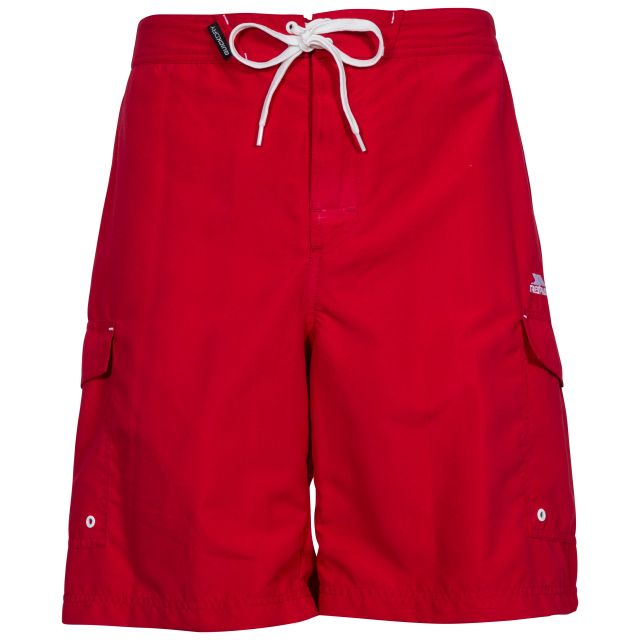 Crucifer Men's Swim Shorts in Red, Front view on mannequin