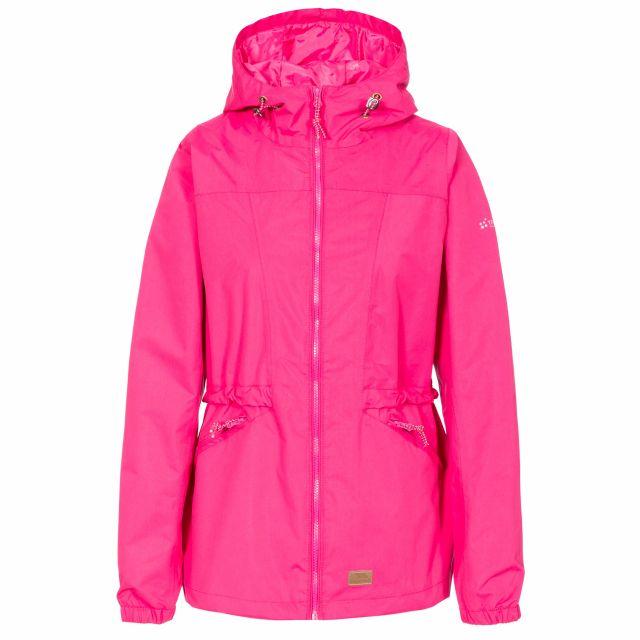 Trespass Womens Waterproof Jacket Windproof Cruella Pink, Front view on mannequin