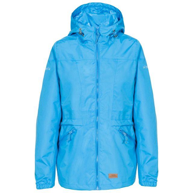 Trespass Womens Waterproof Jacket Windproof Cruella Blue, Front view on mannequin