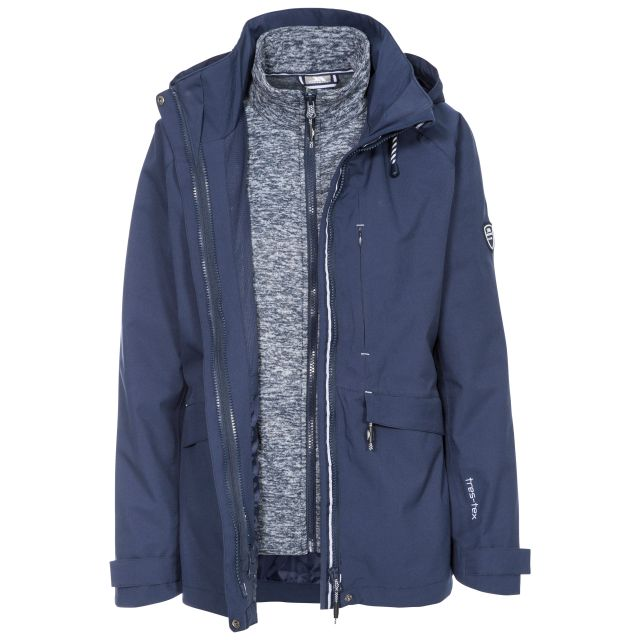 Cruising Women's Breathable Waterproof 3-in-1 Jacket in Navy, Front view on mannequin