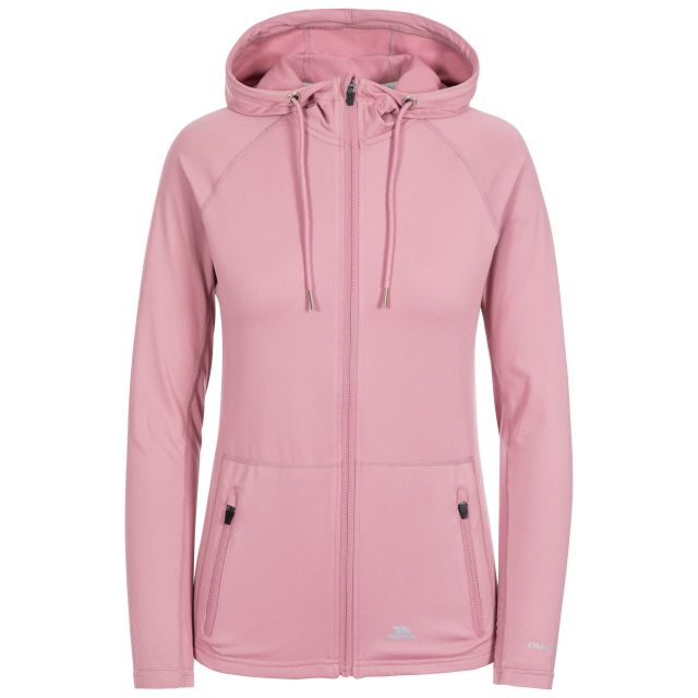 Dacre Women's Hooded Active Jacket in Light Purple, Front view on mannequin