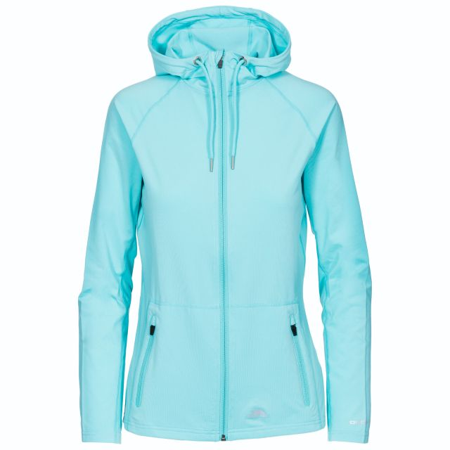 Dacre Women's Hooded Active Jacket in Light Blue, Front view on mannequin