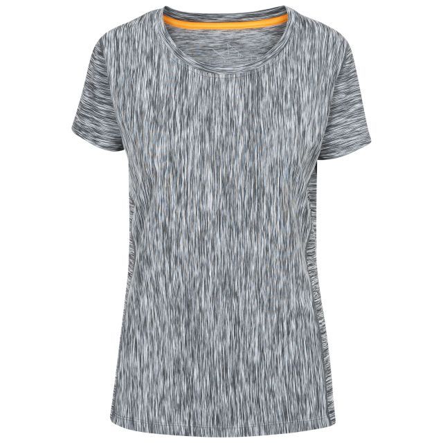 Daffney Women's Quick Dry Active T-Shirt in Light Grey, Front view on mannequin