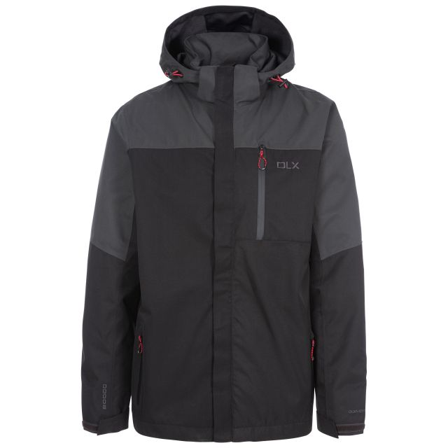 Danson Men's DLX Waterproof Jacket in Black, Front view on mannequin