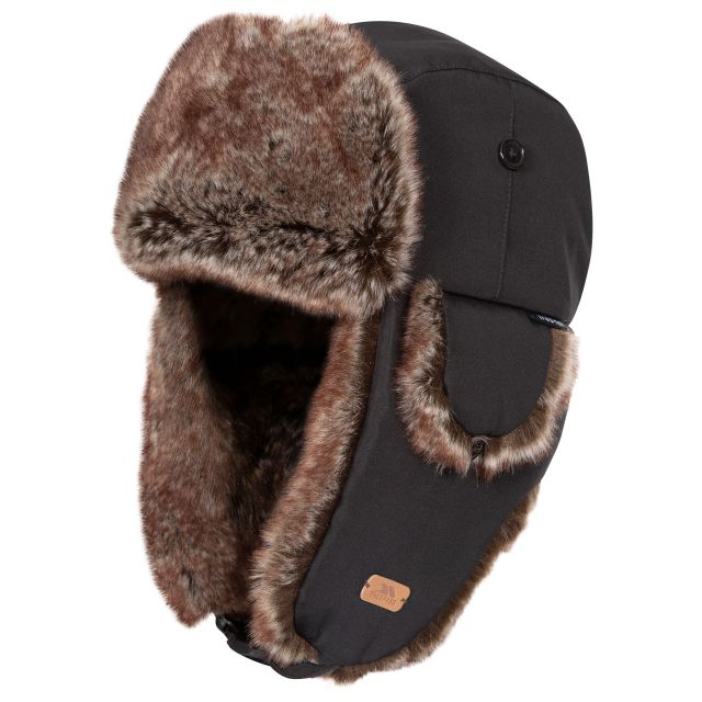 Dapper Faux Fur Winter Hat  - BLK, Hat at angled view