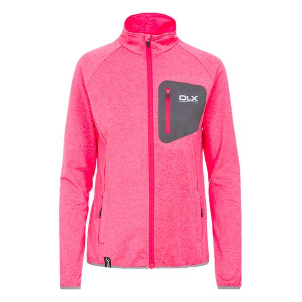Darby Women's DLX Active Jacket in Pink, Front view on mannequin