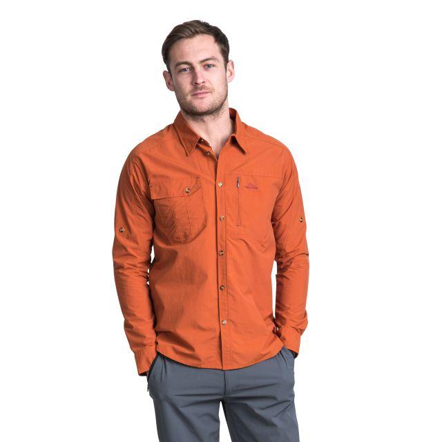 Darnet Men's Mosquito Repellent Shirt in Orange, Back view on model