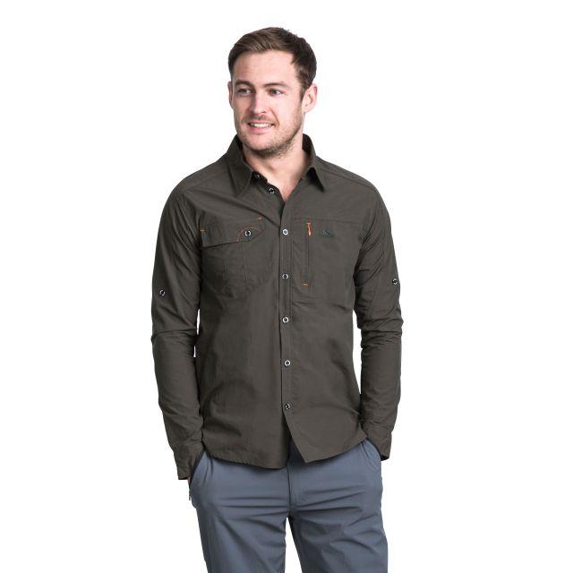 Darnet Men's Mosquito Repellent Shirt in Khaki, Back view on model
