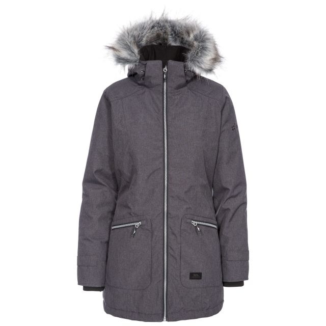 Trespass Womens Waterproof Parka Jacket Day by Day Black, Front view on mannequin