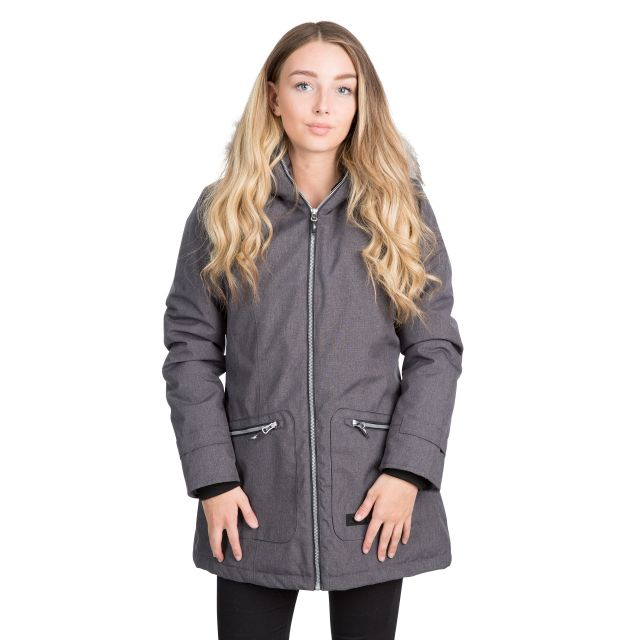 Trespass Womens Waterproof Parka Jacket Day by Day Black