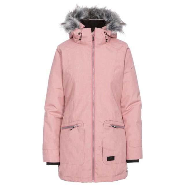 Trespass Womens Waterproof Parka Jacket Day by Day Dusty Rose, Front view on mannequin