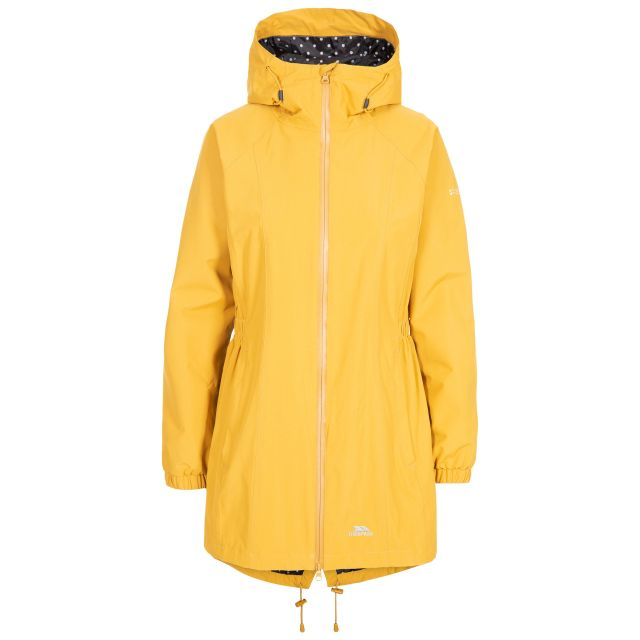 Trespass Womens Waterproof Jacket Long Length Daytrip Yellow, Front view on mannequin