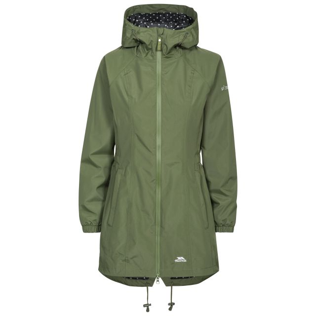 Trespass Womens Waterproof Jacket Long Length Daytrip Moss, Front view on mannequin