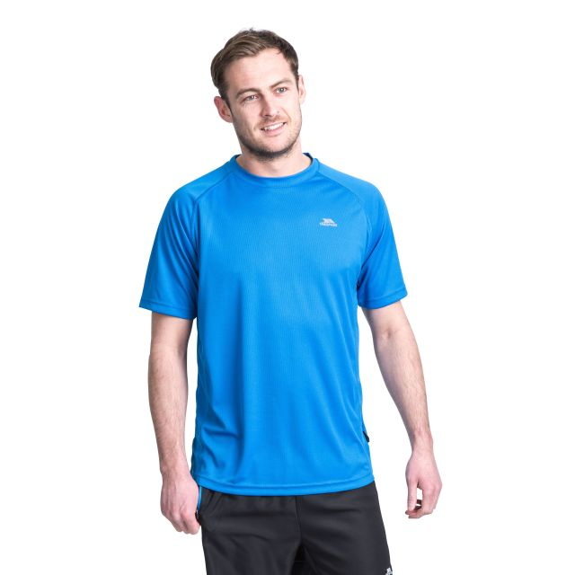 Debase Men's Quick Dry Active T-shirt in Blue, Back view on model