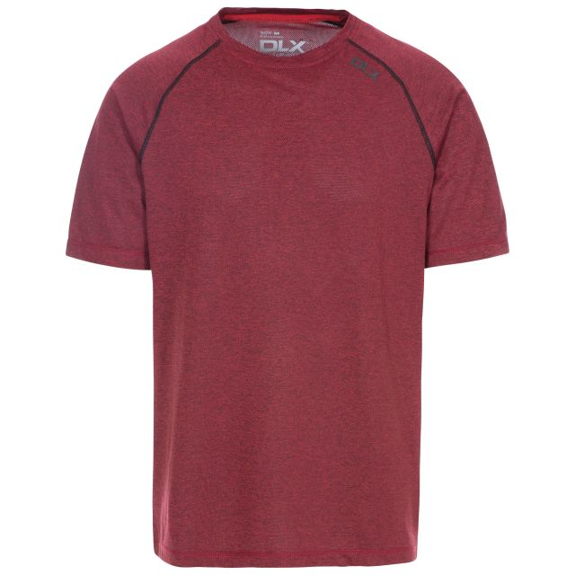 Deckard Men's DLX Quick Dry Active T-shirt in Red, Front view on mannequin