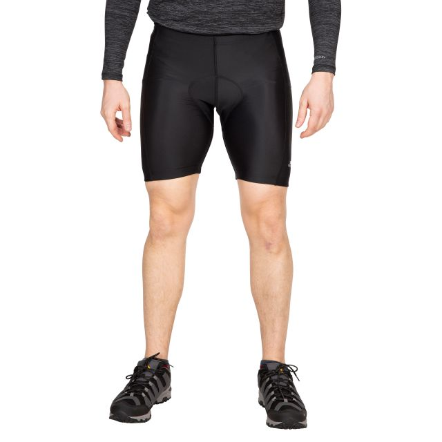 DECYPHER II - Men's Padded Shorts in Black, Front view on model