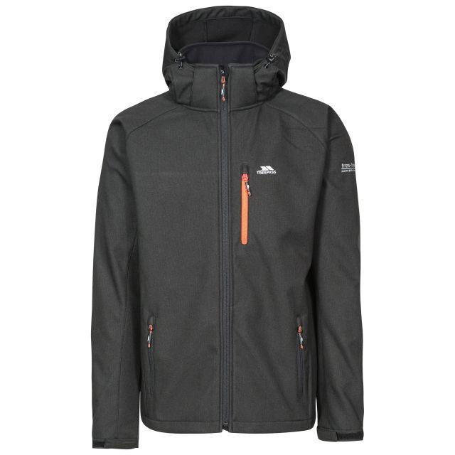 Desmond Men's Hooded Softshell Jacket in Black, Front view on mannequin