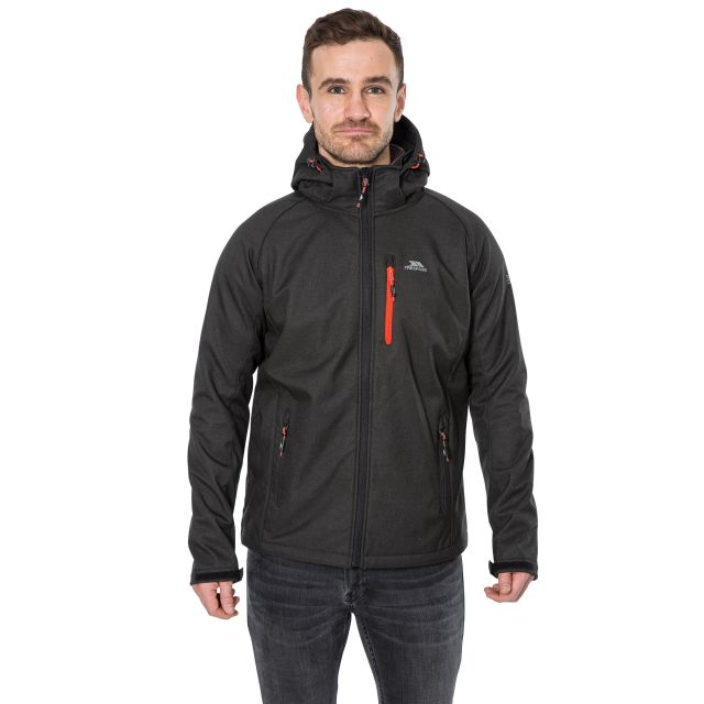 Desmond Men's Hooded Softshell Jacket in Black