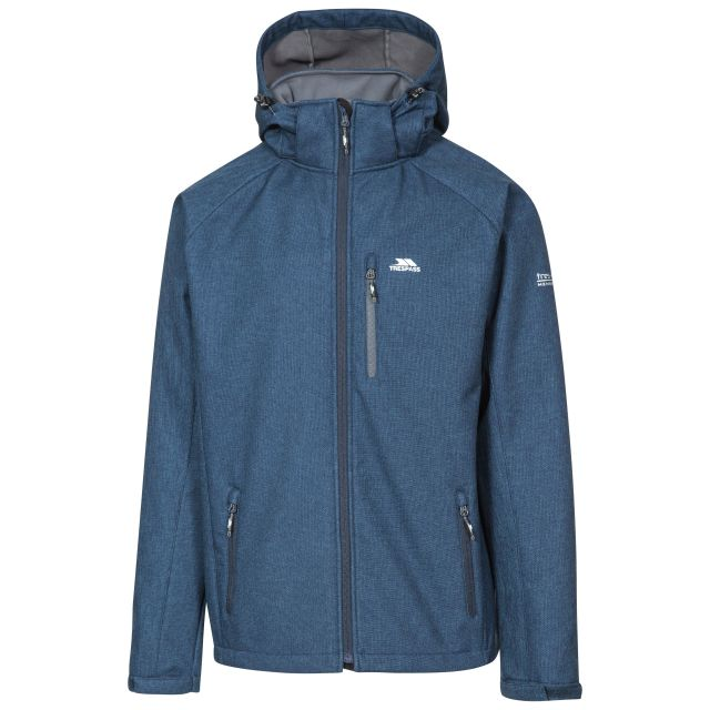 Desmond Men's Hooded Softshell Jacket in Navy, Front view on mannequin