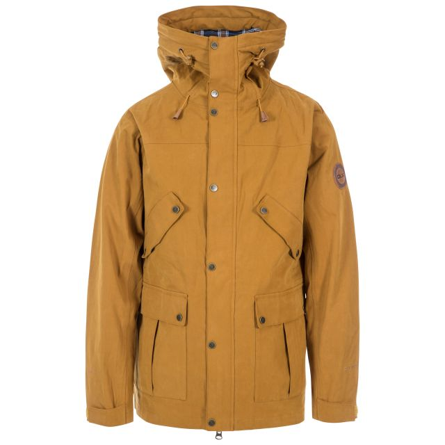 Destroyer Men's DLX Waterproof Jacket in Yellow, Front view on mannequin
