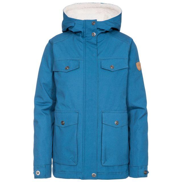 Devoted Women's Fleece Lined Waterproof Jacket in Blue, Front view on mannequin