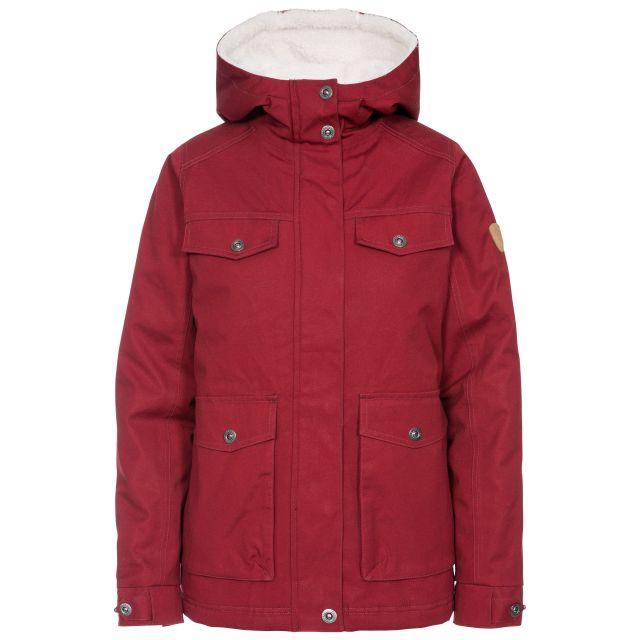 Devoted Women's Fleece Lined Waterproof Jacket in Red, Front view on mannequin