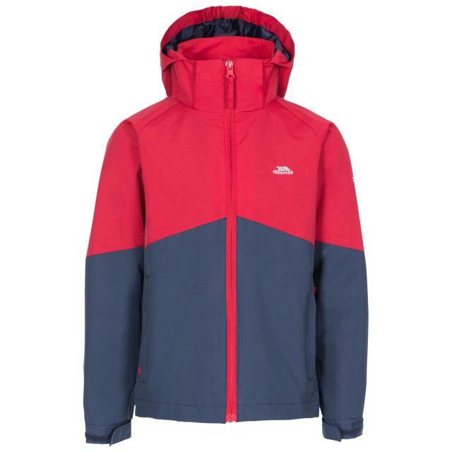 Dexterous Kids' Waterproof Jacket in Red, Front view on mannequin