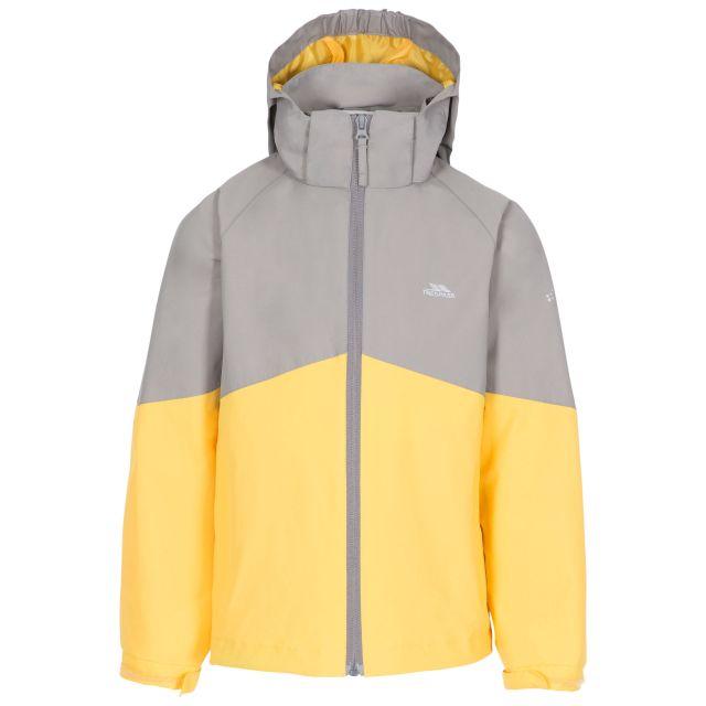 Dexterous Kids' Waterproof Jacket in Grey, Front view on mannequin