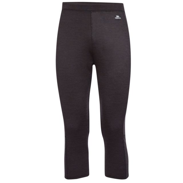 Trespass Mens Base Layer Bottoms Quick Dry 3/4 Length Diego Dark Grey, Front view on mannequin
