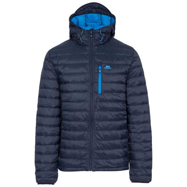Digby Men's Down Packaway Jacket in Blue, Front view on mannequin
