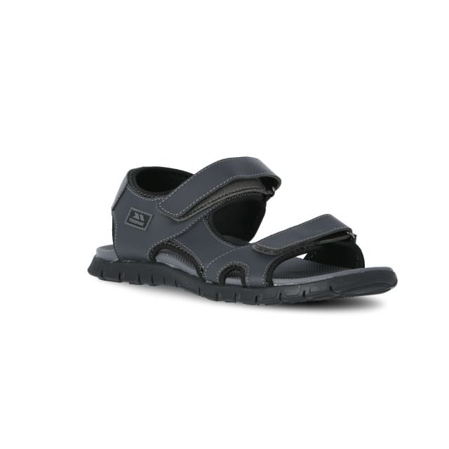 Dilton Men's Trekking Sandals in Grey, Angled view of footwear