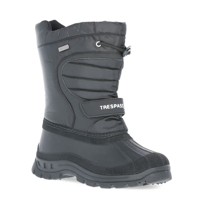 Dodo Youth Water Resistant Snow Boots in Black, Angled view of footwear