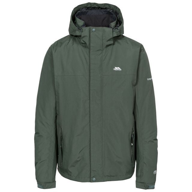 Donelly Men's Waterproof Jacket in Khaki, Front view on mannequin